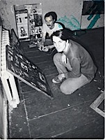 Evgenij Kozlov and Timur Novikov at the Gallery «ASSA», 1984
