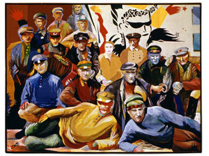 (E-E) Evgenij Kozlov Комиссары / Commissars Gouache, water colour, tempera, canvas 120 x 90 cm, 1982-83