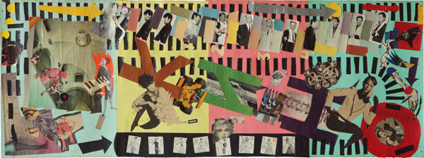 (E-E) Evgenij Kozlov КИНО / KINO Collage, photo, coloured paper, cardboard. 225 x 80 cm, 1985